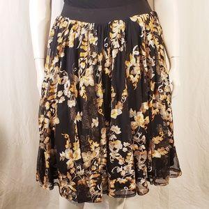 Torrid Black Floral Full skirt size 1X